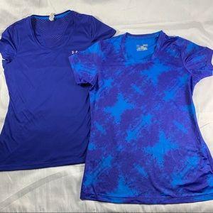 Bundle of 2 UA med fitted blue workout tops (3)